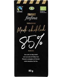 Mörk Choklad 85% FAVORIT FINFINA, 80g Fairtrade und bio