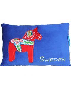 Dalapferd-Kissen, blau, 46cm