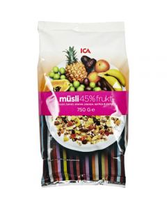 Müsli 45% Frukt 750g ICA