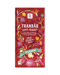 Garant Tranbär Mörk Choklad 70% Kakao, 100g