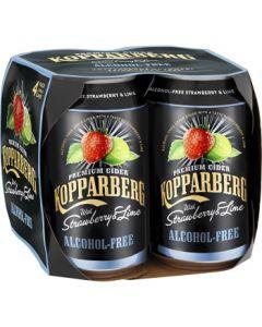 Kopparbergs Cider Jordgubb Lime 4x 0,33l, alkoholfrei