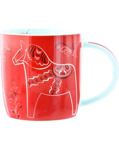 Dalapferd-Tasse, rot, Kürbismuster