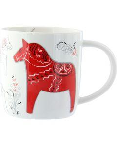 Dalapferd-Tasse, weiß, Kürbismuster