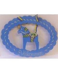 Dalapferd-Begrüßungsschild. hellblau