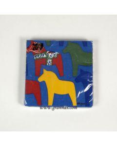 Dalapferd-Serviette blau 17x 17cm 20st