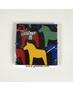Dalapferd-Serviette schwarz 12x 12cm 20st.